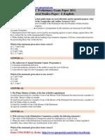 UPSC IAS Pre 2012 General Studies Exam Paper I English With Answer Key Www.upscportal.com