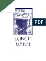 Sandbar Seafood & Spirits Lunch Menu