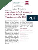6-14 Anuncio de La SAT Respecto Al Estudio de Precios de Transferencia Año 2013