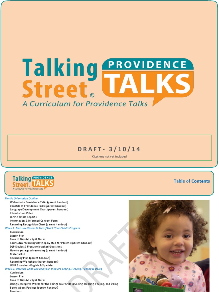 816434009fa9 Providence Talks Curriculum