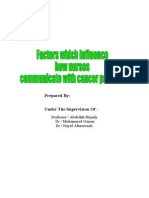 Factors Which Influence How Nurses Communicate With Cancer Patients