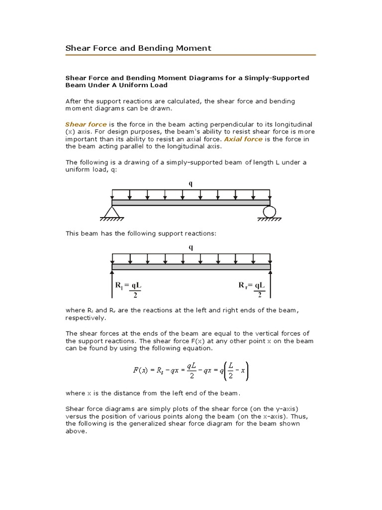 Shear Force And Bending Moment Calculation Diagrams 1532649662v1