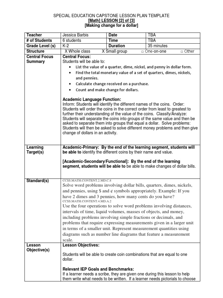Lesson Twomath Nickel United States Coin Educational Assessment - Lesson plan template for special needs students