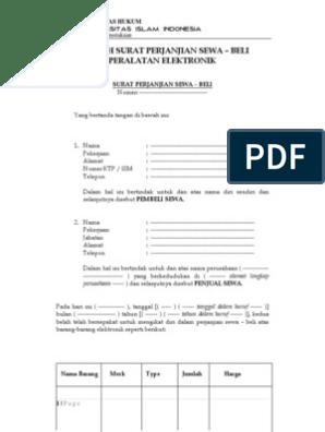 Contoh Surat Perjanjian Sewa Beli Peralatan Elektronik Fh Uii