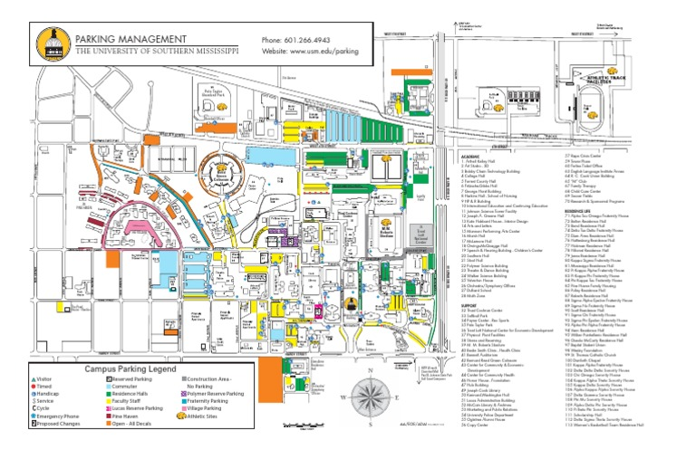 southern miss campus map University Of Southern Mississippi Map Fraternities And southern miss campus map