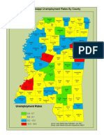 Mississippi Unemployment Rate by County Map