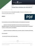 Ordre Du Jour Du Conseil Des Ministres Du Mercredi 21 Mai 201
