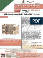 Locandina della presentazione di SOGGETTI A NESSUNO di Antonio Schiavulli, 29 maggio BIblioteca Ruffilli di Bologna