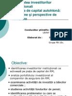 Activitatea Investitorilor Instituţionali Pe Piaţa de Capital Autohtonă