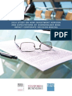 2014 Study on How Investment Horizon and Expectations of Shareholder Base Impact Corporate Decision-Making with The National Investor Relations Institute (NIRI)