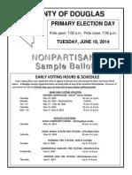 Douglas County 2014 Primary Election Sample Ballot - Non-partisan