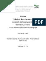 analisis practicas docentes para el desarrollo de la comprension lectora en prim