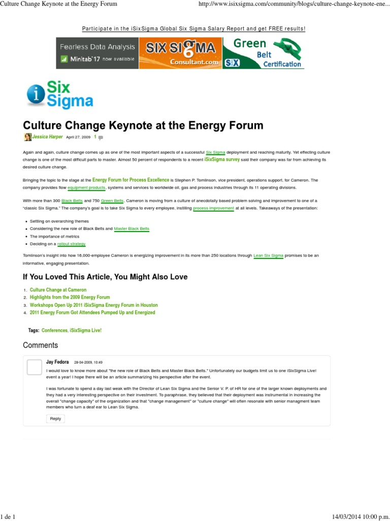 Culture change keynote at the energy forum six sigma processes xflitez Gallery