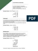 Operações Matemáticas Com Números Decimais