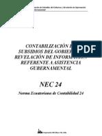 NEC 24 Contabilización de Subsidios de Gobierno y Revelación de Información Referente a Asistencia Gubernamental