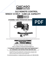 Chicago Portable Remote Control Winch 12 Volt 300 LB Model 9512