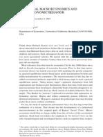 Behavioral Macroeconomics and Macroeconomic Behavior