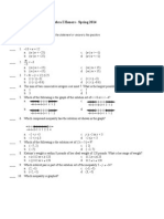 final exam study guide - algebra i honors - spring 2014 questions