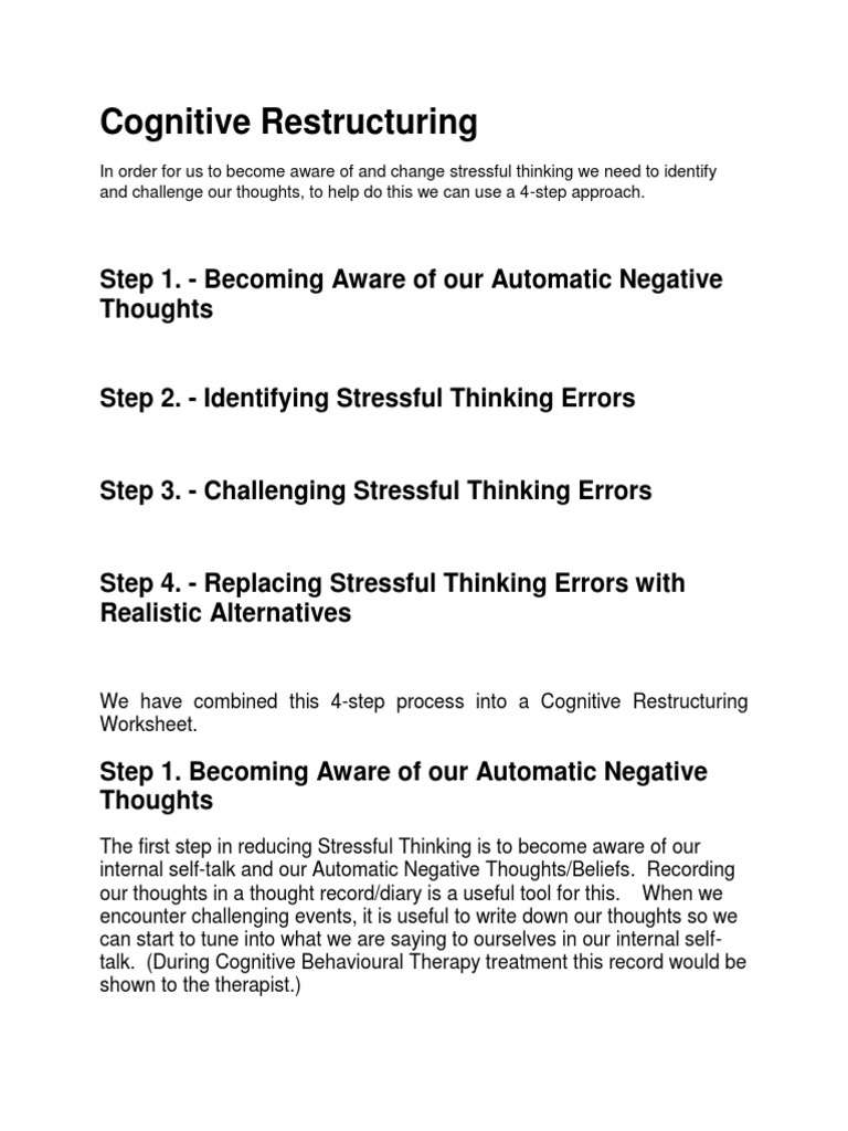 Cognitive Restructuring Cognitive Behavioral Therapy