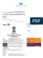UPSC Releases the IES 2013 Cut Off. Download Merit List Now