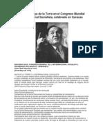 Discurso de Haya de La Torre en El Congreso Mundial de La Internacional Socialista
