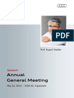 Rupert Stadler - 125. Annual General Meeting 2014, part 1