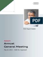 Rupert Stadler - 125. Annual General Meeting 2014, part 2
