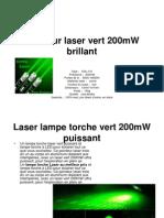 Pointeur Laser Vert 200mW Brillant