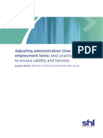 Best Practice in Adjusting Administration Time on Employment Tests