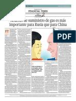 Acuerdo de Suministro de Gas Es Más Importante Para Rusia Que Para China