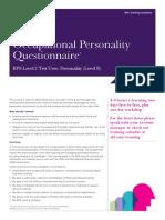 Training Course Factsheet OPQ Level B