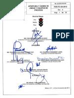 Apertura y Cierre de Lineas y Equipos de Proceso-PXR-PC-08-2012