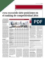 Perú Retrocede 7 Posiciones en Ranking de Competitividad 2014_Gestión 22-05-2014