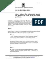 Resolução CFN 541 de 2014_altera Código de Ética Nutricionista