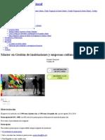 Máster en Gestión de Instituciones y Empresas Culturales (Presencial) _ Universitat de Barcelona Preços