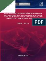 SALUD 2008 Lineamientos de Políticas Para La Transferencia Tecnológica en El Instituto Nacional de Salud