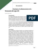 El Ideario Bolivariano y La Democracia en Venezuela Del Siglo XXI Juan Carlos Rey