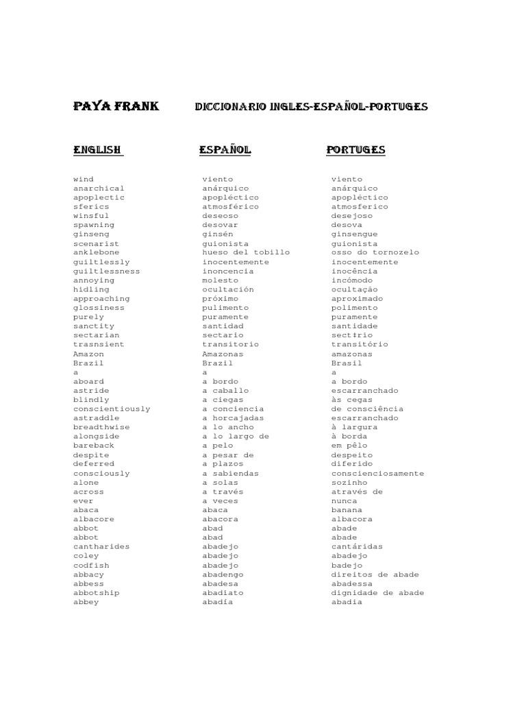diccionario ingles espanol portugues rh scribd com Pagina Em Portugues MSN Em Portugues