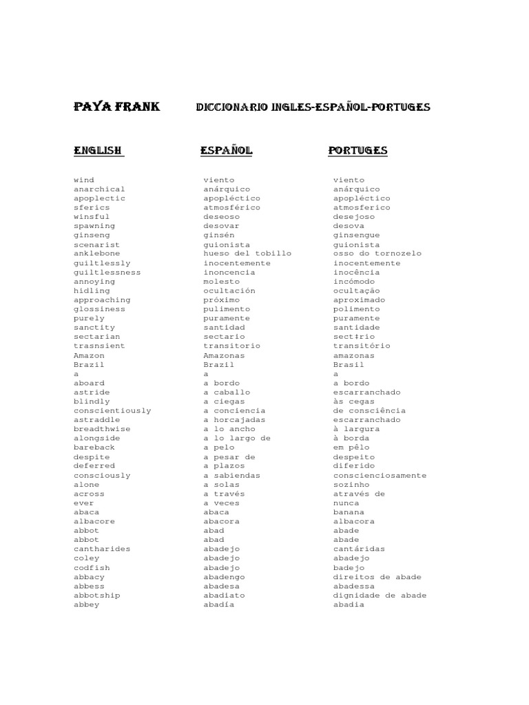 Diccionario Ingles Espanol Portugues