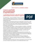 Com0309, 220805 Eugenio Hernández propone que se profesionalice la seguridad pública.