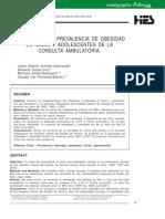 Aumento en La Prevalencia de Obesidad en Niños y Adolescentes de La Consulta Ambulatoria.
