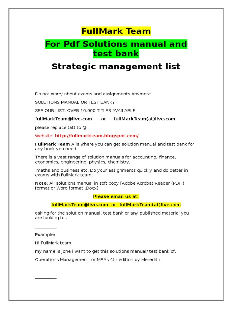 Strategic Management Test Bank and Solutions Manual | Psychometrics |  Quality Of Life
