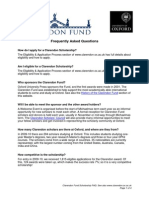 Clarendon Fund Scholarship Frequently Asked Questions for Web