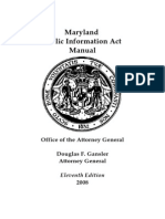 Maryland Public Information Act Manual - 11th Edition (October 2008)