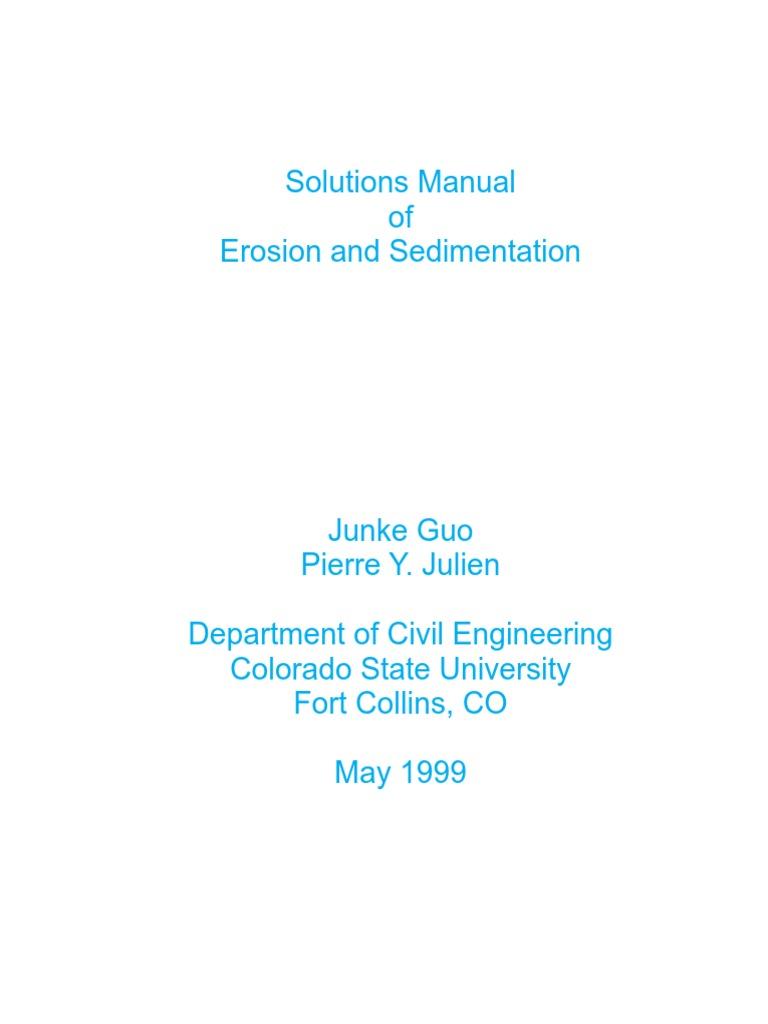 Solutions Manual of Erosion Aand Sedimentation | Viscosity | Dynamics  (Mechanics)