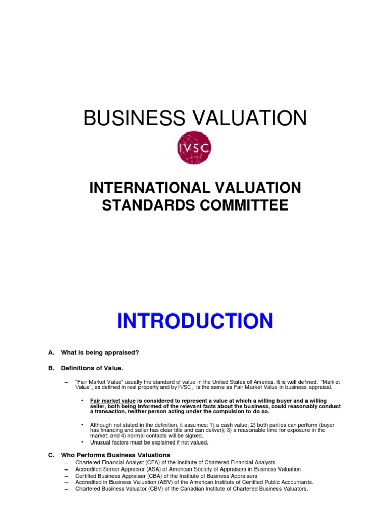 5 Business Valuation Pdf Real Estate Appraisal Book Value