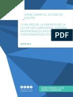 """Informe """"A un año de la vigencia de la ley de declaraciones juradas patrimoniales integrales de funcionarios/as públicos/as"""""""