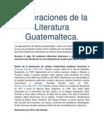 Generaciones de La Literatura Guatemalteca