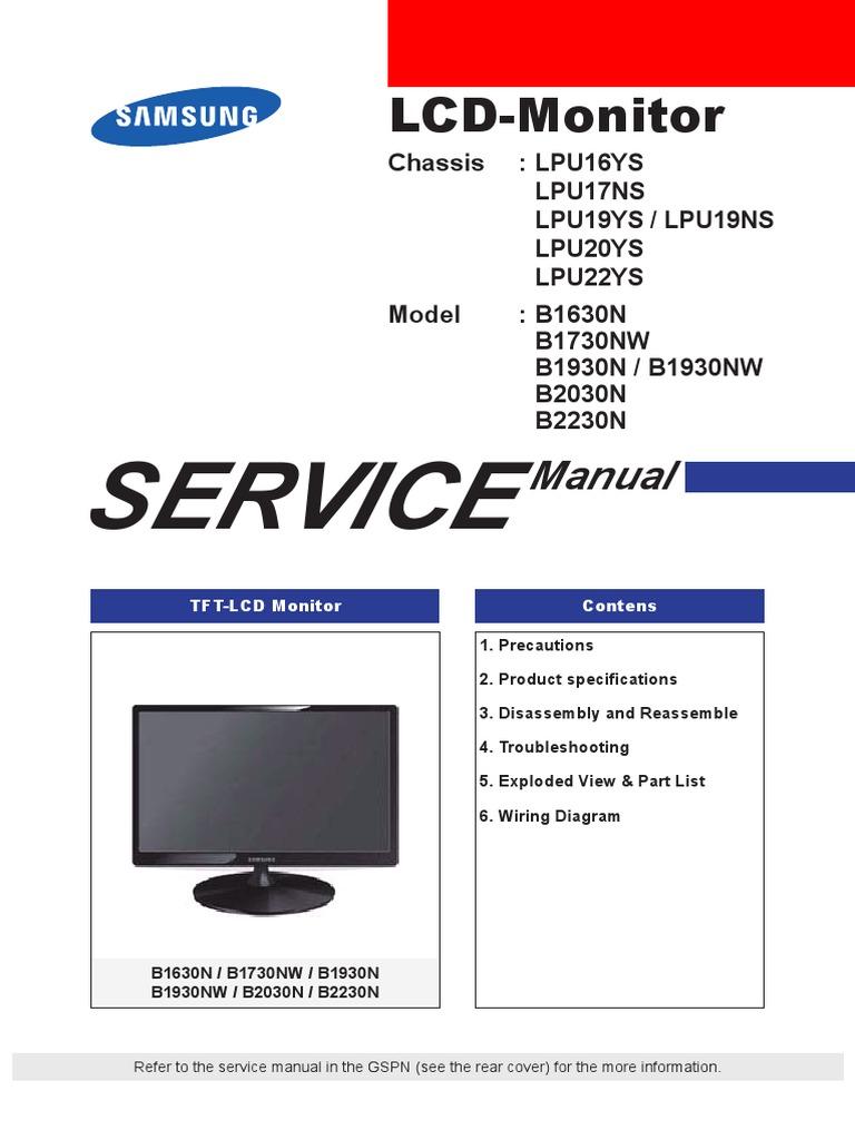 samsung b1630n b1730nv b1930n nw b2030n b2230n lcd monitor rh scribd com Samsung User Manual Guide Samsung Manual PDF