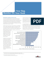 Notebook in Bag Monitor on Desk White Paper